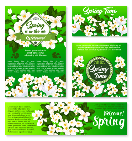Spring floral template for card and banner design Иллюстрация
