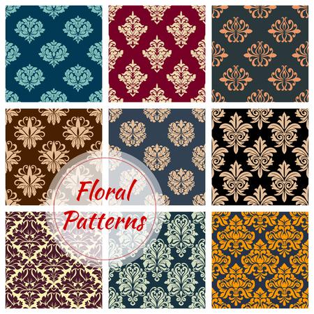 Vectror Floral Damask Naadloze Patronen Set