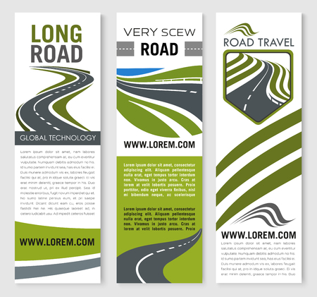 Vector banners for road travel technology company Illusztráció