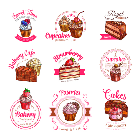 Vector icons of pastry dessert cakes and cupcakes