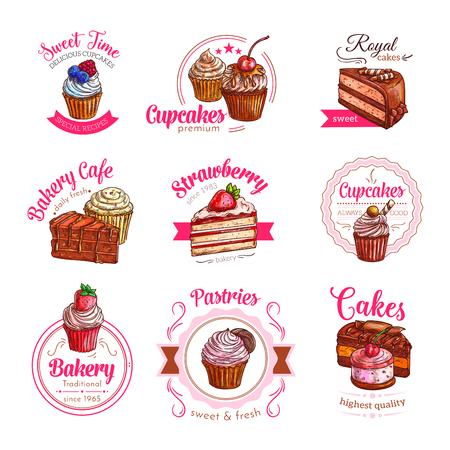 Vektorikonen von Gebäcknachtischkuchen und -kleinen Kuchen Standard-Bild - 77600663
