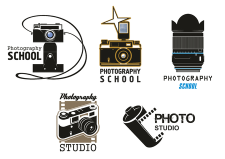 A Vector icons camera film for photo studio school