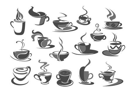 Un conjunto de iconos de vector de tazas de café para cafeteria Foto de archivo - 77602699