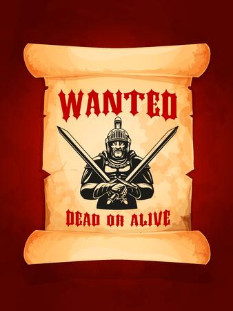 벡터 포스터는 죽은 또는 살아있는 중세 기사를 원했습니다.