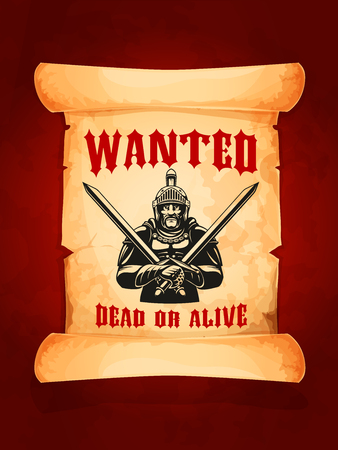 A Vector poster wanted dead or alive medieval knight