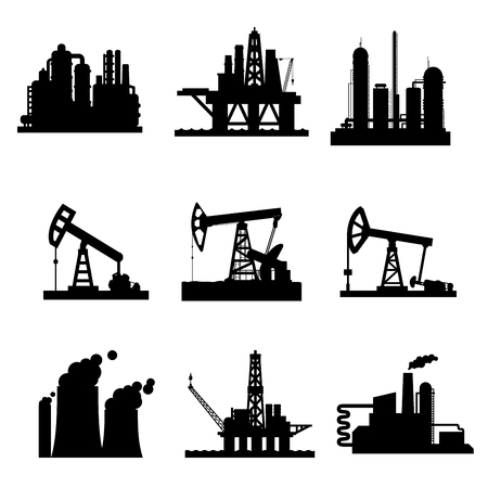 Vector icons of oil derricks and gas mining plants