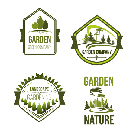 A Vector icons for landscape ou gardening company Banque d'images - 77602814