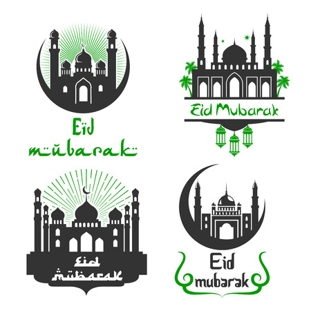 Eid Mubarak Muslim festival vector greetings set