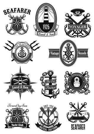 Vector heraldic icons of nautical marine seafarer Illustration