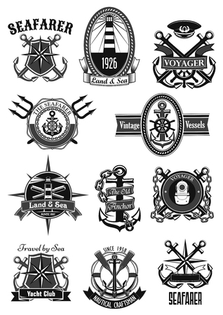Vector heraldic icons of nautical marine seafarer Ilustrace