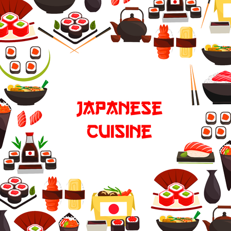 Vector poster of sushi and Japanese seafood rolls
