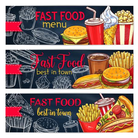 A Vector banners set for fast food restaurant menu Illustration