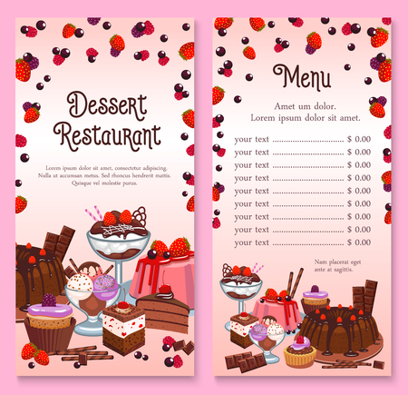 A Vector menu for pastry dessert cakes and cupcakes Illustration