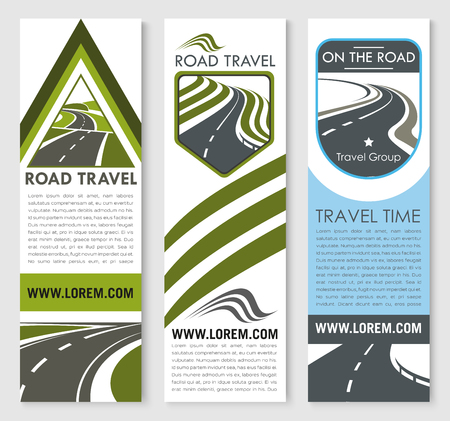 A Vector banners set for road travel company