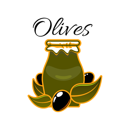 A Vector icon of olives and olive oil in jar