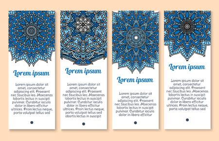 A Vector banners Paisley or Mandala ornaments