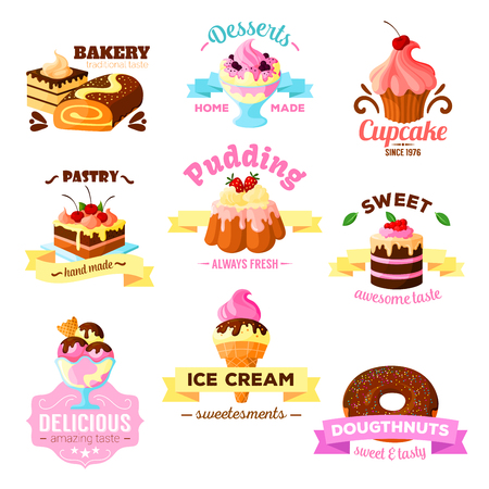 vanilla pudding: Vector dessert cakes sweets icons for patisserie Illustration
