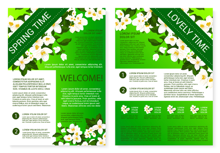 Spring flowers welcome brochure template design