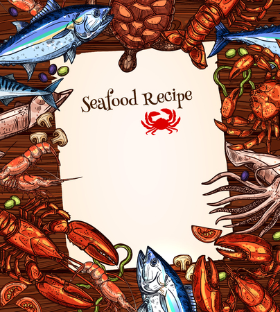 Vector seafood recipe blank design of fishes catch