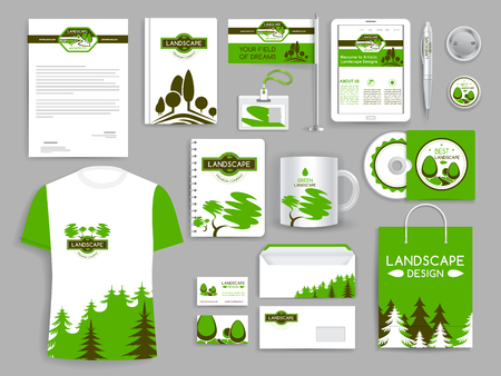 Identidad corporativa conjunto empresa de diseño de paisaje Foto de archivo - 77608818