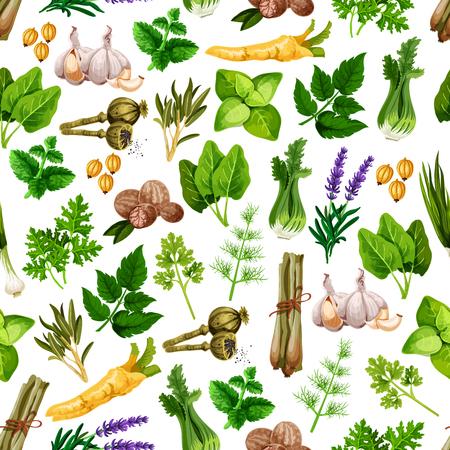 Patrón transparente de vector de condimentos de hierbas de especias Foto de archivo - 77608819