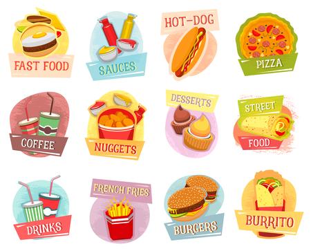 Vector Icons für Fast Food Menü Design Standard-Bild - 77608842