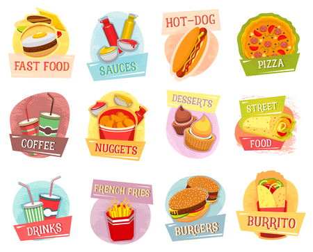 Vector icons for fast food menu design Stock Vector - 77608842