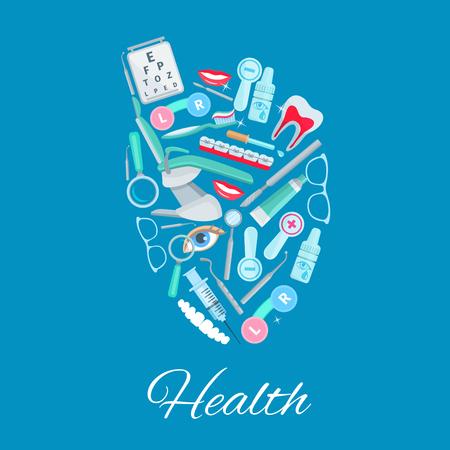 Medical care heart vector poster of medicines Ilustração