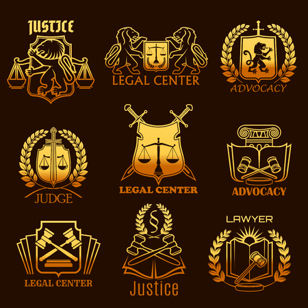 Advocacy lawyer vector gold icons of legal justice