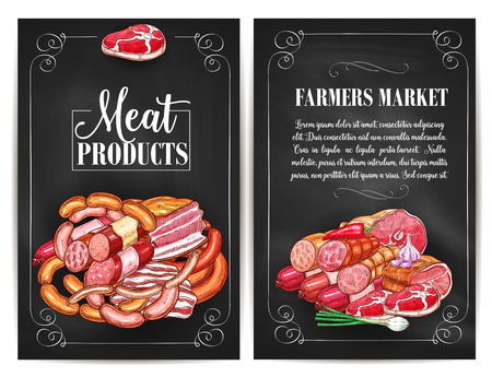 Vector posters for butchery shop meat products