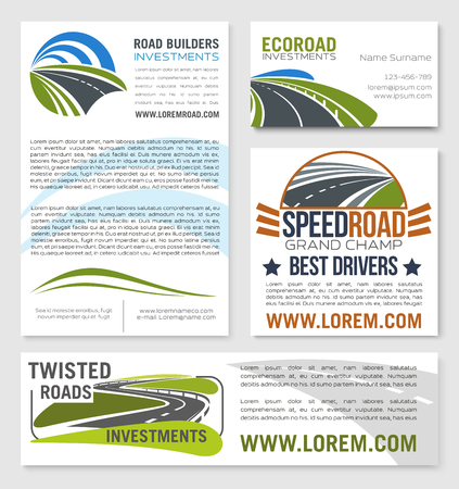 Vector templates of road construction builders Illustration