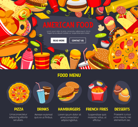 page site: Vector fast food web site landing page template Illustration