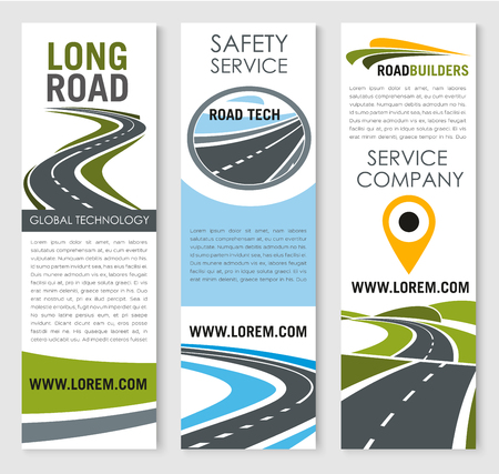 Vector banners of road safery construction company Stock Vector - 77608877