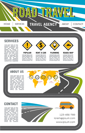 Vector landing page site for road travel company