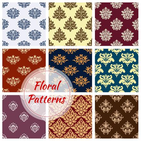 ダマスク織花のシームレスな飾りのベクトル パターン