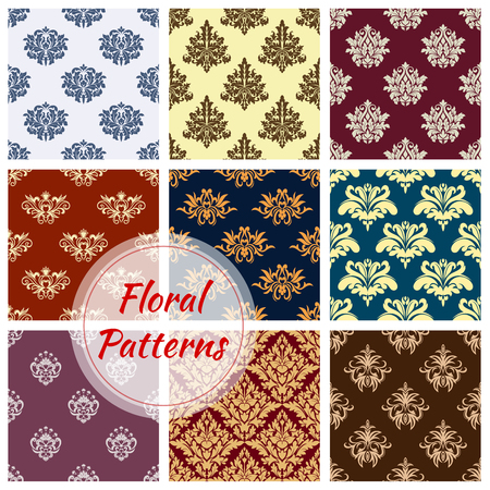 Vector pattern of floral damask seamless ornament