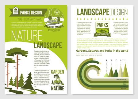 Vectorbrochure voor het ontwerp van het aardlandschap