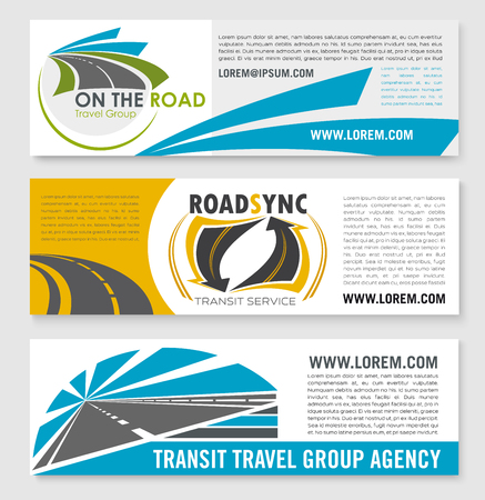Vector banners for road travel or transit company Illusztráció