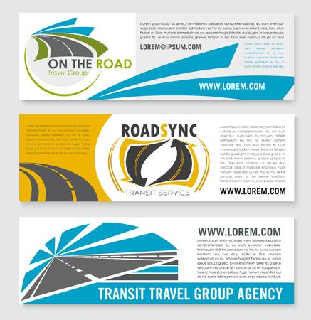 Vectorbanners voor wegreis of doorvoerbedrijf Stockfoto - 77607537