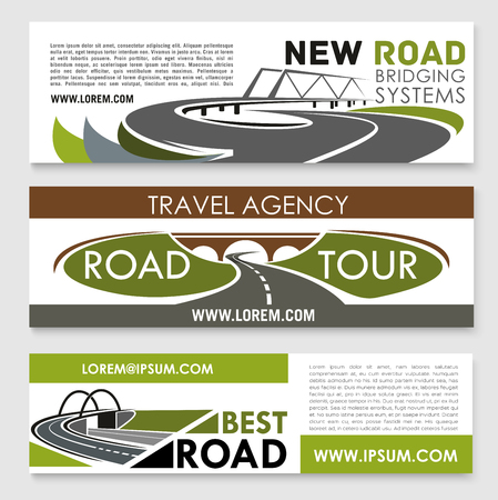 Vector banners of road construction and travel