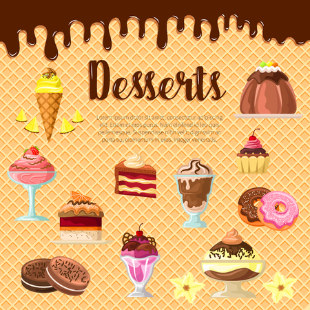 Vector desserts and cakes on chocolate waffle Illustration