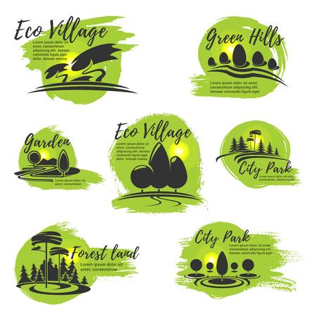 エコ パークと園芸会社のためのベクトルのアイコン