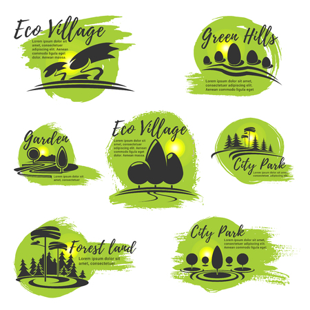Vectorpictogrammen voor ecopark en tuinierend bedrijf Stock Illustratie
