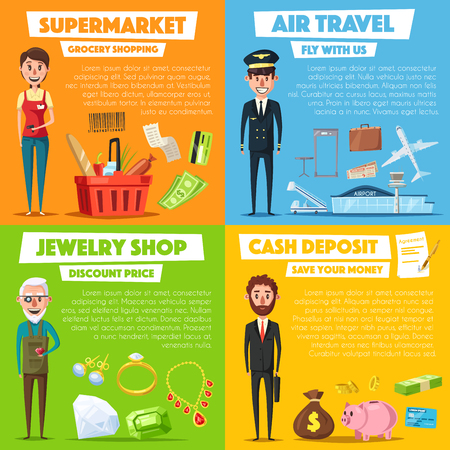 Vector posters of shopping, jewelry and air travel Illustration