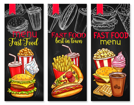 Vector menu price banners for fast food meals Illustration