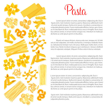 イタリア料理でパスタのベクトル ポスター