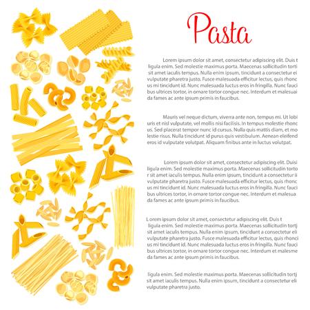 Vector poster of pasta for Italian cuisine Illustration