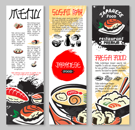 寿司や魚介類のレストランの設定ベクトル バナー