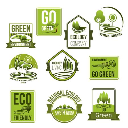 自然生態環境のベクトルのアイコンを設定します。