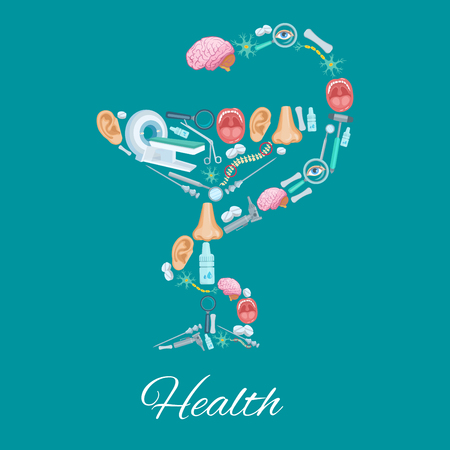 Health poster in Hygieia Bowl symbol and medicines Illustration